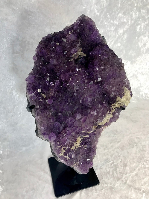 XL amethyst cluster with calcite crystals on a stand from brazil