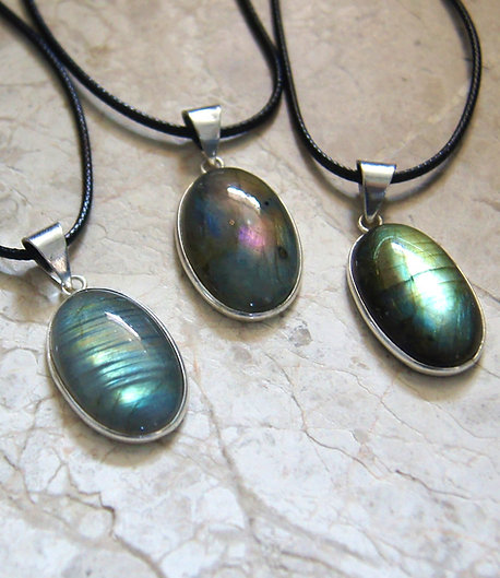 Labradorite Sterling Silver Crystal Necklace Oval