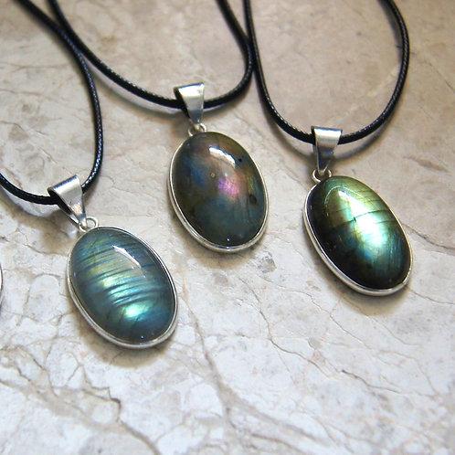 Labradorite Sterling Silver Crystal Necklace Oval