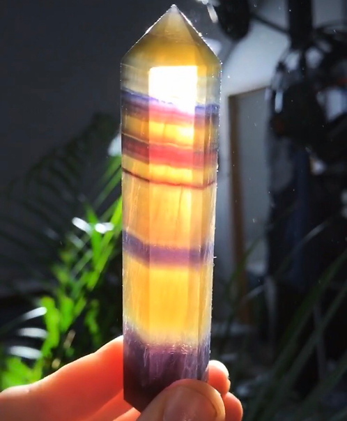 Yellow Rainbow Fluorite Crystal Points