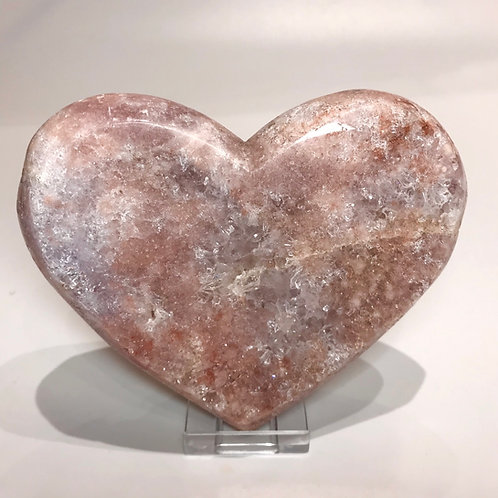 Large Pink Amethyst Druzy Heart on a Stand