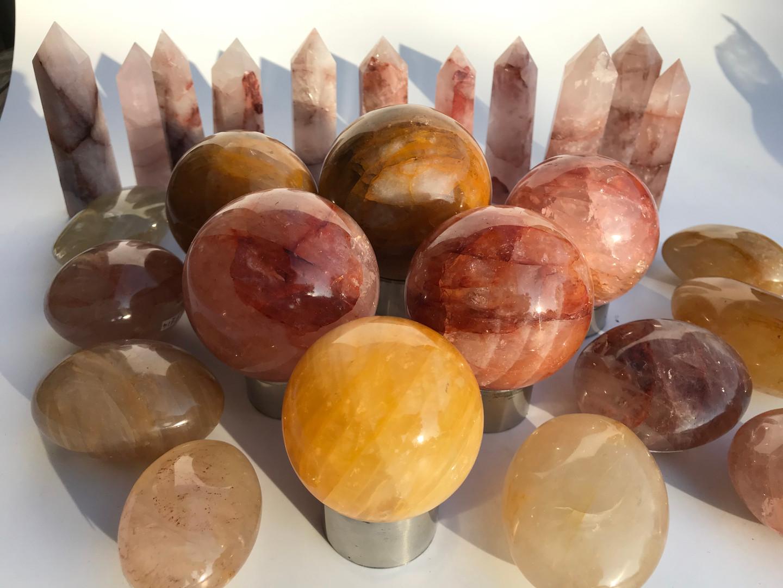 fire quartz red hematoid quartz  crystal