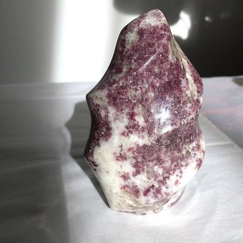 Lepidolite Flame (with rubellite, white quartz and clear quartz)