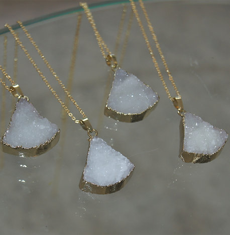 Quartz Crystal Cluster Triangle Necklace