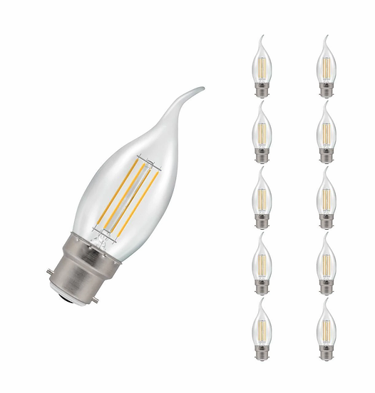 10 x LED Bent-Tip Candle Filament Clear • Dimmable • 5W • 2700K • BC-B22d 12134