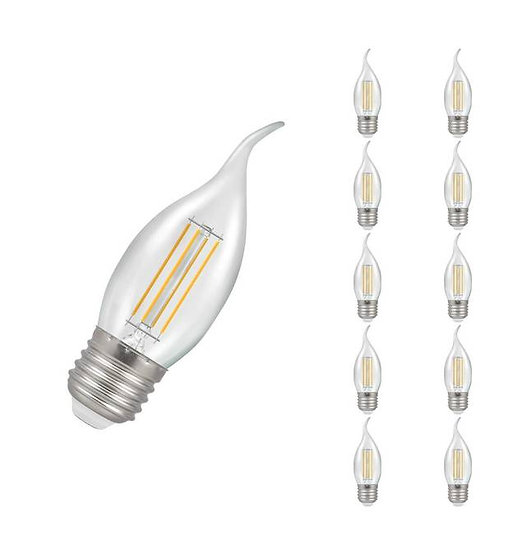 10 x LED Bent-Tip Candle Filament Clear • Dimmable • 5W • 2700K • ES-E27 1215