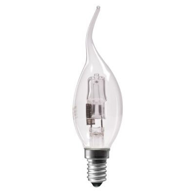 SYLVANIA 18W = 25W SES / E14 FLARED / BENT TIP CANDLE HALOGEN