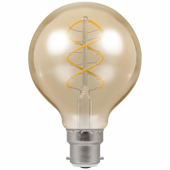LED G80 Globe Spiral Filament Antique • Dimmable • 6W • 2200K • BC-B22d 6614