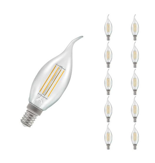 10 x LED Bent-Tip Candle Filament Clear • Dimmable • 5W • 2700K • SES-E14 121