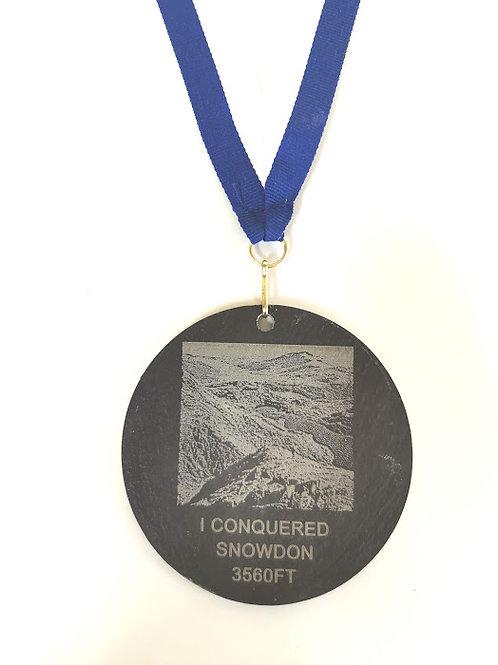Welsh slate Snowdon medal 8cm includes ribbon