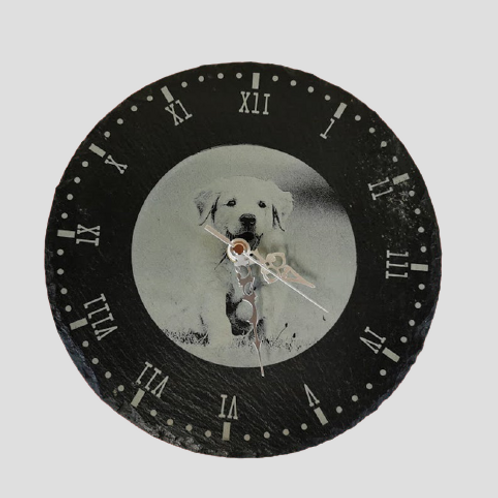 Slate clock with photograph.