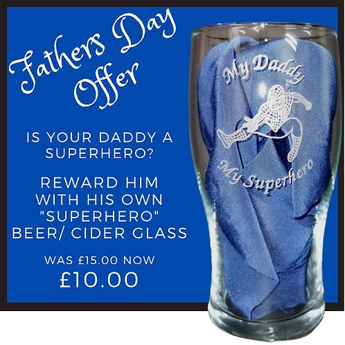 My Daddy My Superhero pint glass