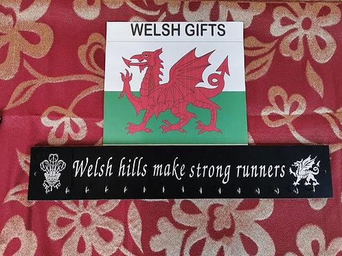 Medal Rack / Hanger Engraved with Welsh hills make strong runners