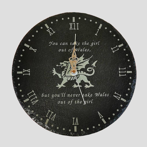 Personalised Slate clock with Welsh Dragon