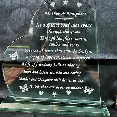 Mother Daughter verse on jade glass.