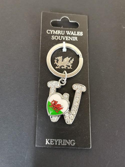 Welsh Alphabet  Keyring Letter W