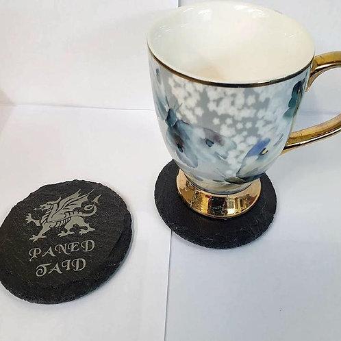 Paned Taid Engraved Slate Coaster