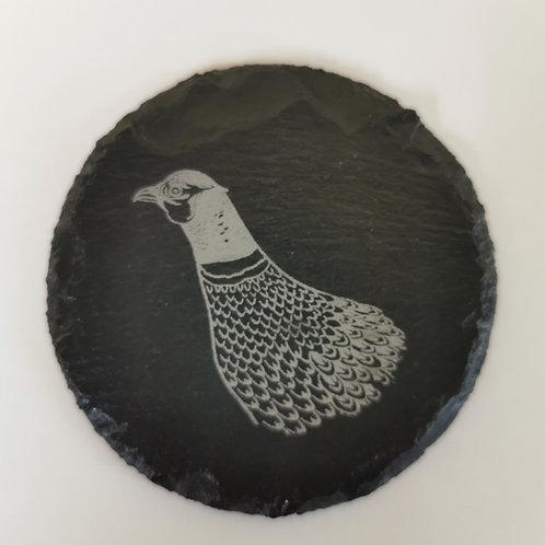 Pheasant slate coaster 10cm