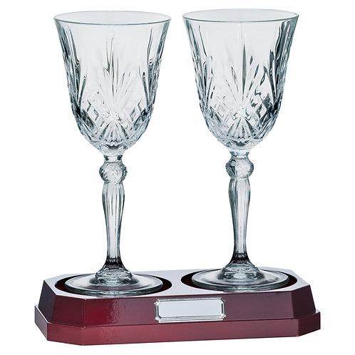 St Joseph set of 2 wine glasses & base