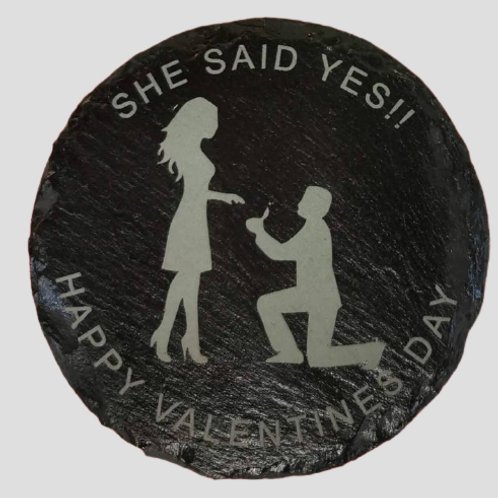 """Proposal """"she said yes"""" valentines coaster"""