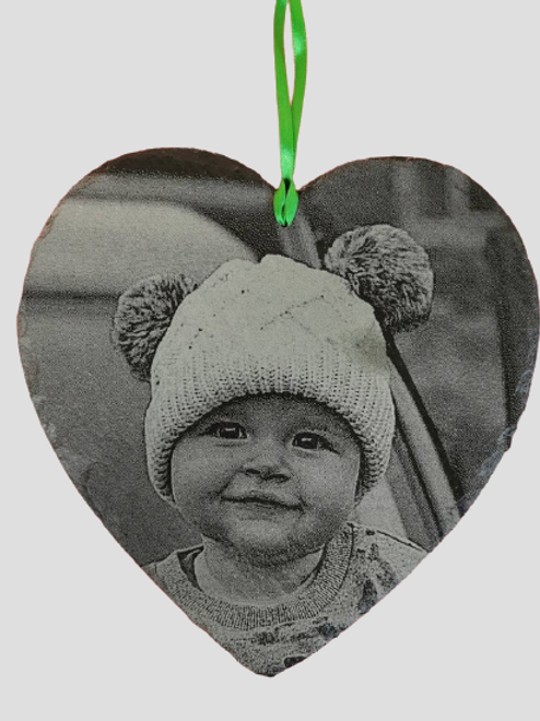 Slate Heart Engraved With Your Own Photo