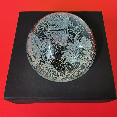 Glass paperweight engraved.