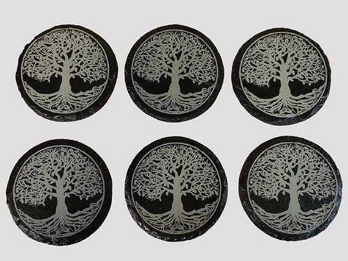 """Set of 6 """"tree of life"""" Slate Coasters"""