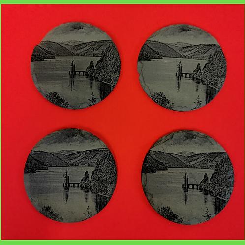 Set of four Lake Vyrnwy Slate Coasters