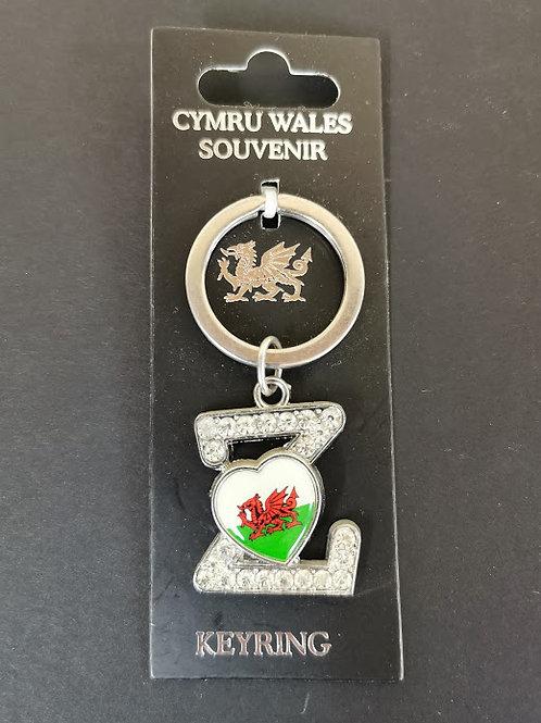 Welsh Alphabet  Keyring Letter Z
