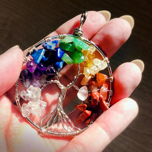 Tree of Life Chakra Crystal Healing Necklace