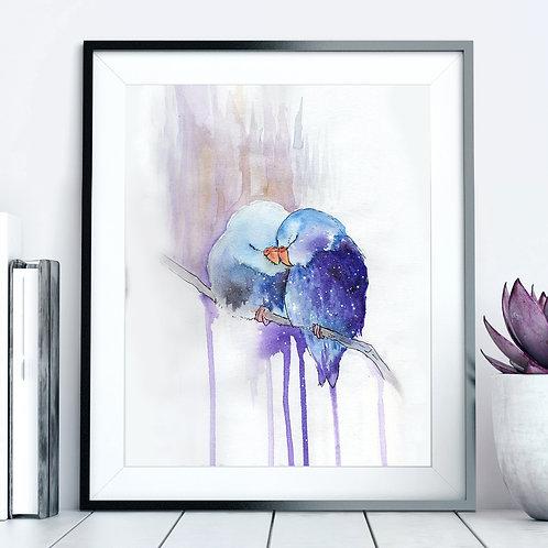 """Starry Lovebirds"" 8""x10"" Print"