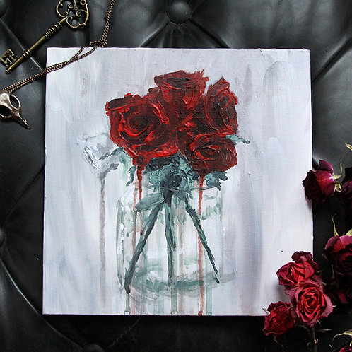 """""""Time for Roses"""" 8""""x8"""" Acrylic Painting"""