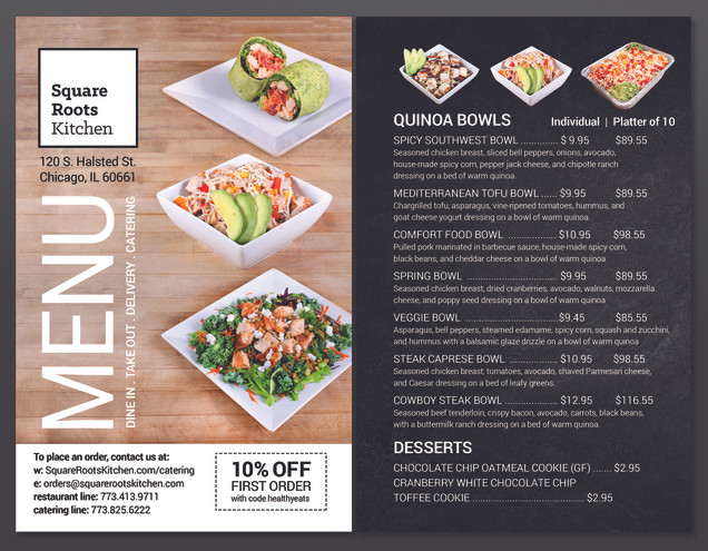 SRK Catering Menu Photography and Design