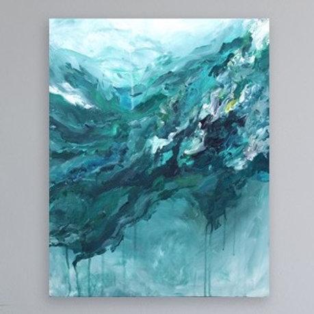 """""""Turquoise Rain Healing"""" 16"""" x 20"""" Original Painting"""
