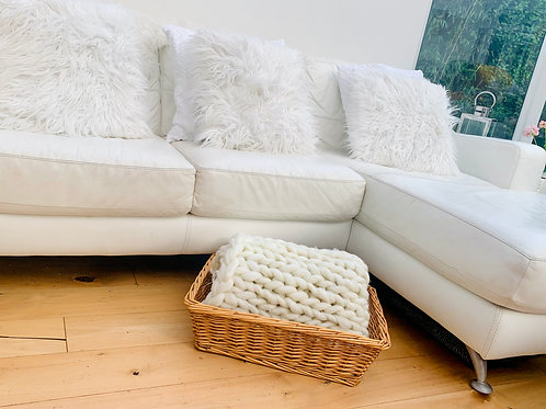Large shallow wicker basket