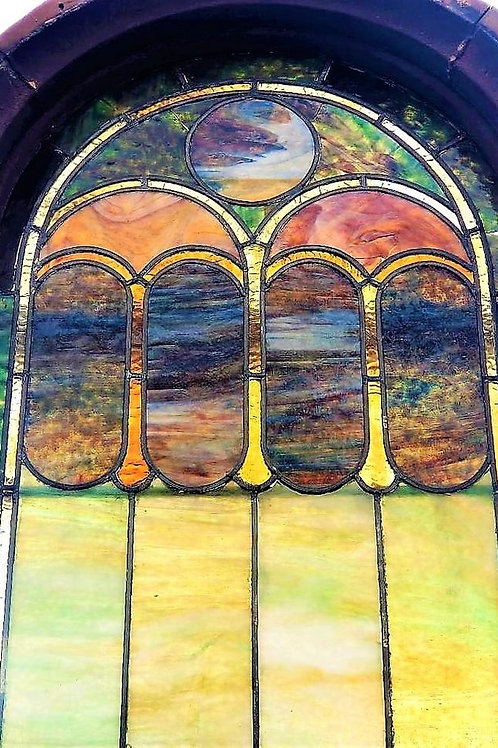 Antique Church Stained Glass windows w/ many leaded inner pieces, many choices &