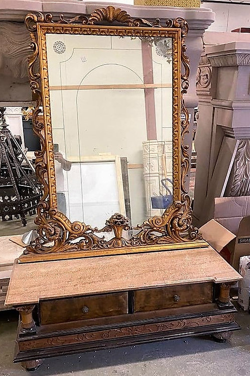 Beautiful Italian Antique Vanity w/ 2 drawers and salmon marble