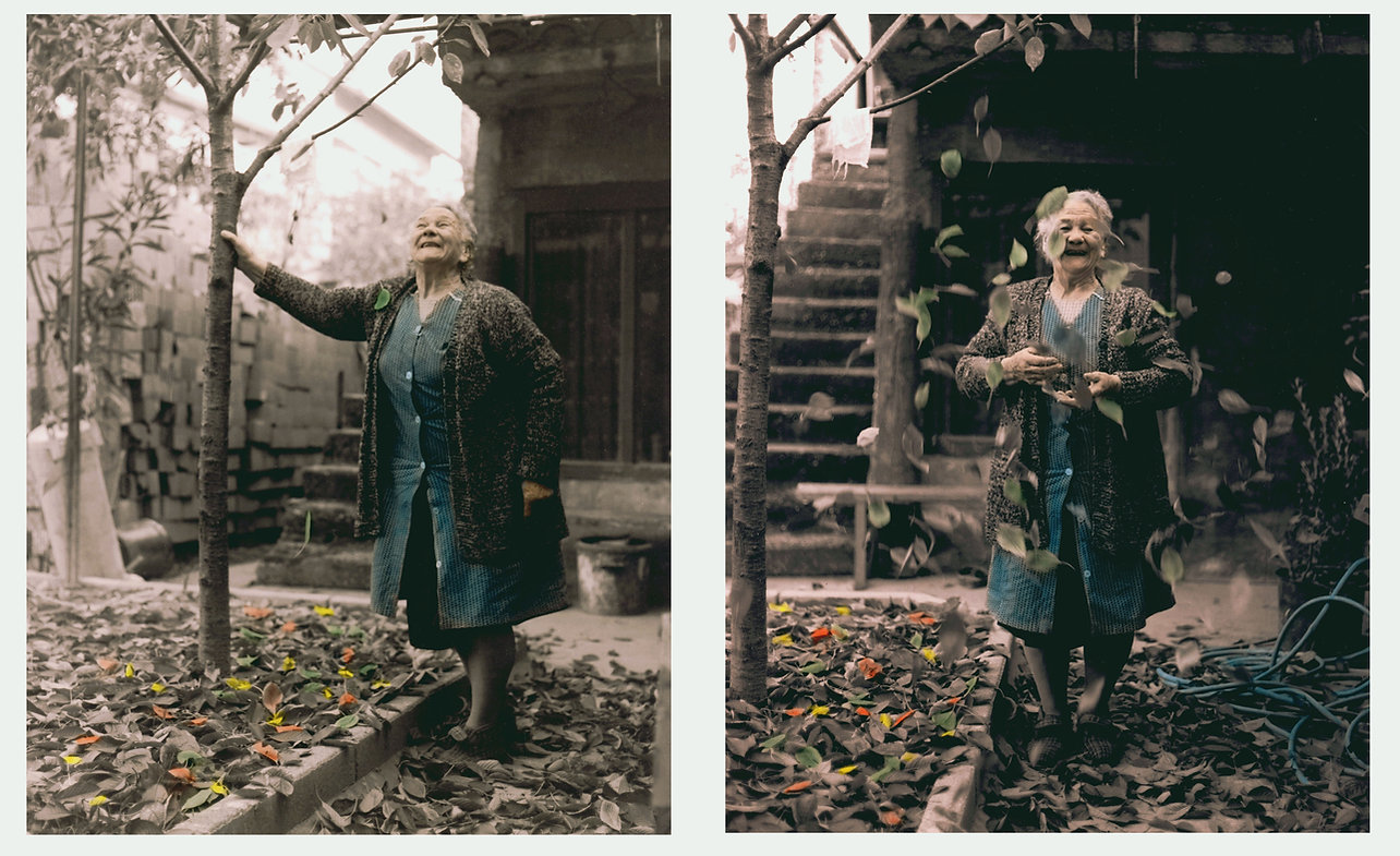 """Happiness is…"""" Photography by Joe Hoynik.   Used with permission, joehoynik@gmail.com.   The artist says, """"This is a photo of my grandmother, Marija Blazanin, taken in Zagreb, Croatia, back when it was still part ofYugoslavia. I've taken thousands of photographs in my career but I consider this one my best. It was as if all the elementsagreed to participate in the same instant. The right film, the right lens, perfect light and of course, totallyspontaneous act by my grandma."""""""