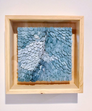 paper clay with mason stain, wood board