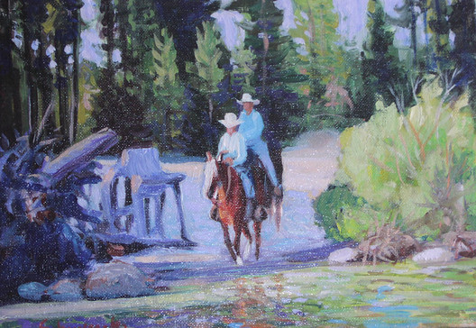 Two Riders by the Lake