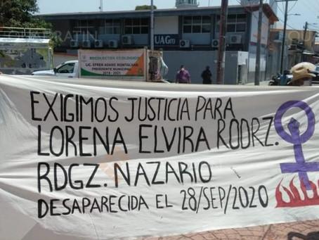Colectivo marcha por desaparecida en Cuajinicuilapa