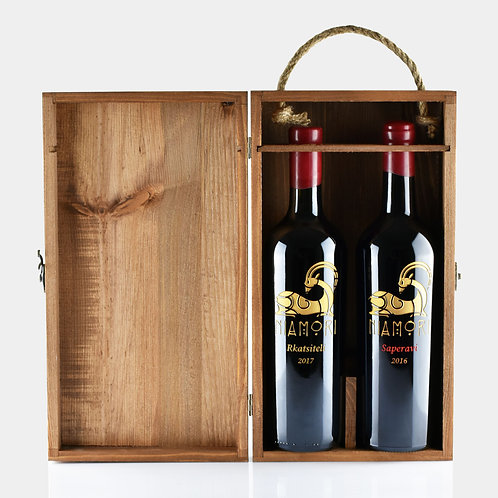 რქაწითელი და საფერავი | ხის ყუთით | 0.75 ლიტრი | წარწერის გრავირებით