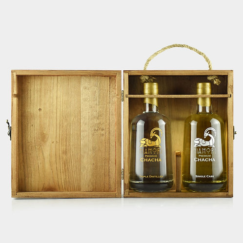 Chacha | Single Cask & Triple Distilled | Wooden Box | 0.5 Liter | Engraving of Text