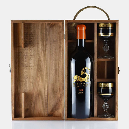 Kisi | White Dry | Wooden Box & Wine Glasses | 1.5 Liter | Engraving of Text