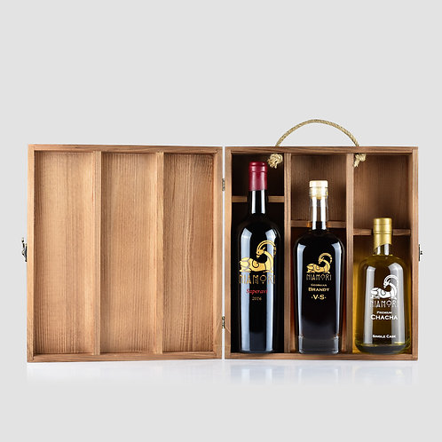 Saperavi, Georgian Brandy VS & Chacha Single Cask | with Wooden Box | Engraving of Text