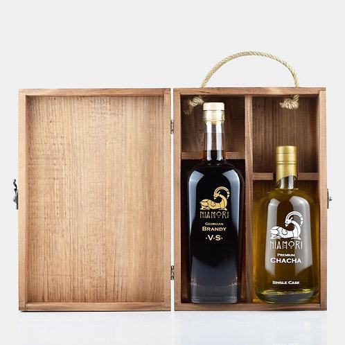 Georgian Brandy VS & Chacha Single Cask | Wooden Box | Engraving of Text
