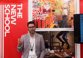 David Lopez Garica presenting at The New School Exhibition Booth.