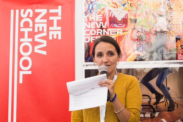 Maria Carrizosa presenting at The New School Exhibition Booth.