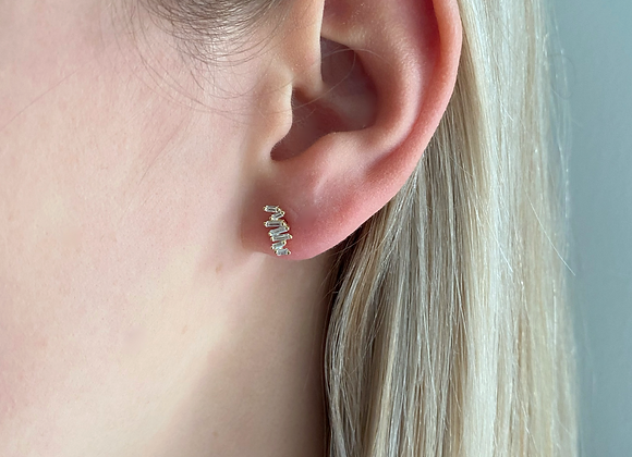 Gouden oorbellen staafjes  met steen