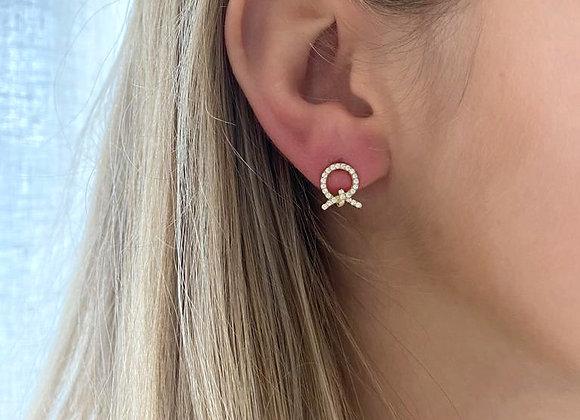 Gouden oorbellen met strikje
